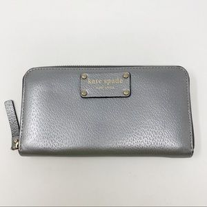 KATE SPADE Silver Leather Continental Wallet